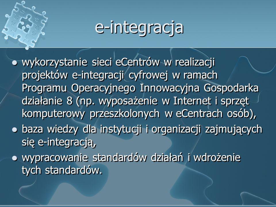 e-integracja wykorzystanie sieci eCentrów w realizacji projektów e-integracji cyfrowej w ramach Programu Operacyjnego Innowacyjna Gospodarka działanie 8 (np.