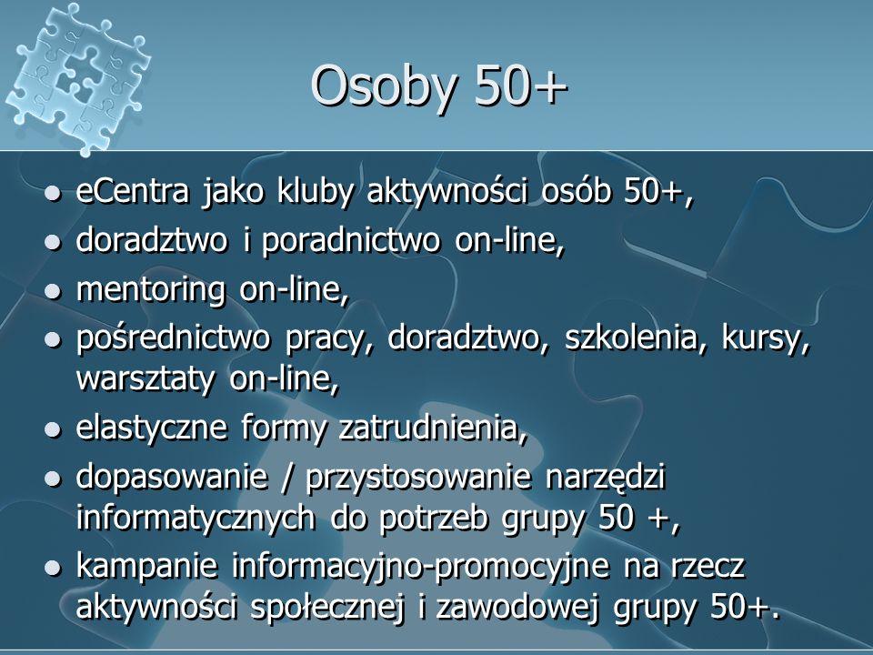 Osoby 50+ eCentra jako kluby aktywności osób 50+, doradztwo i poradnictwo on-line, mentoring on-line, pośrednictwo pracy, doradztwo, szkolenia, kursy, warsztaty on-line, elastyczne formy zatrudnienia, dopasowanie / przystosowanie narzędzi informatycznych do potrzeb grupy 50 +, kampanie informacyjno-promocyjne na rzecz aktywności społecznej i zawodowej grupy 50+.