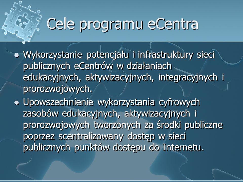 Cele programu eCentra Wykorzystanie potencjału i infrastruktury sieci publicznych eCentrów w działaniach edukacyjnych, aktywizacyjnych, integracyjnych i prorozwojowych.