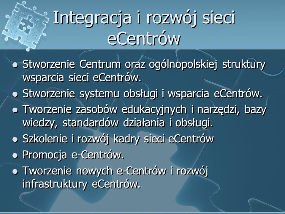 Integracja i rozwój sieci eCentrów Stworzenie Centrum oraz ogólnopolskiej struktury wsparcia sieci eCentrów.