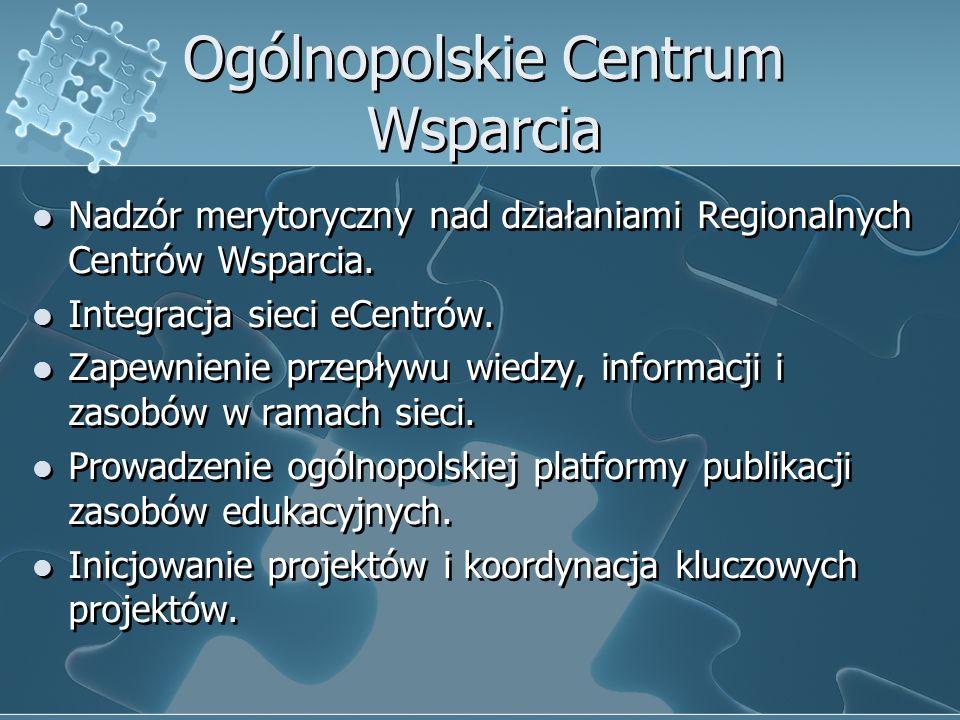 Ogólnopolskie Centrum Wsparcia Nadzór merytoryczny nad działaniami Regionalnych Centrów Wsparcia.