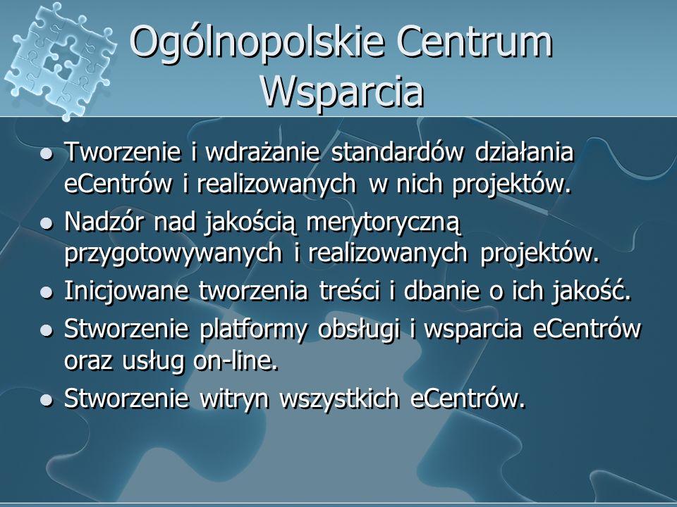 Ogólnopolskie Centrum Wsparcia Tworzenie i wdrażanie standardów działania eCentrów i realizowanych w nich projektów.