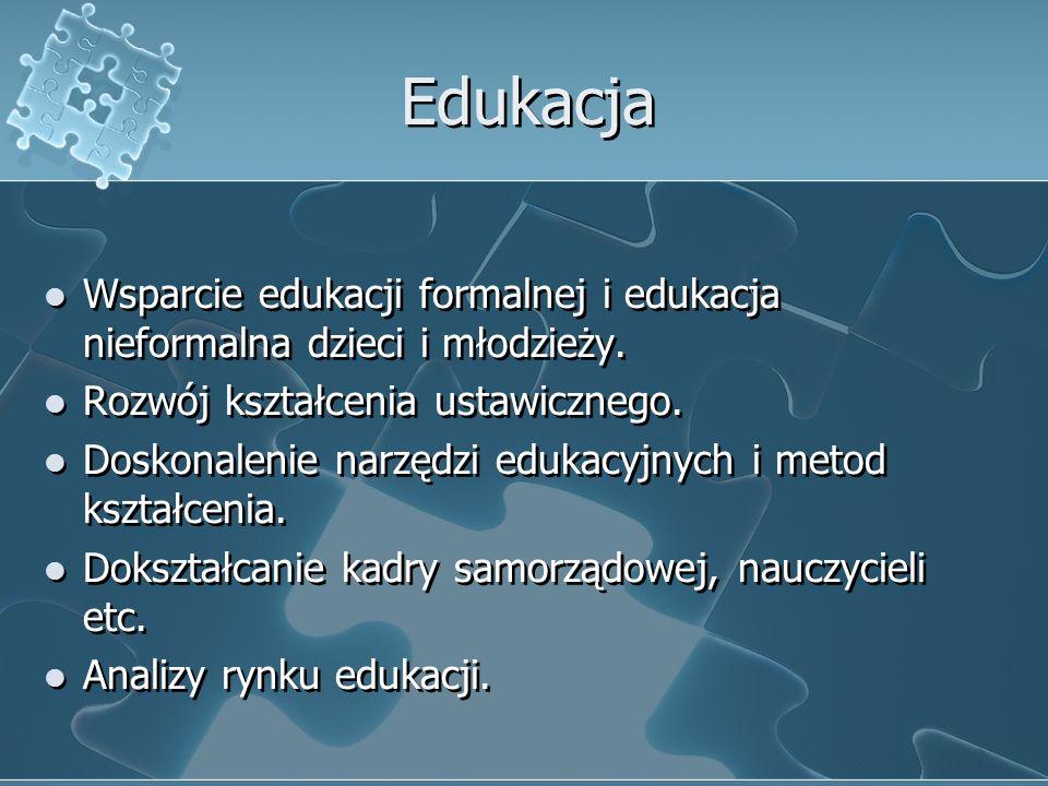 Edukacja Wsparcie edukacji formalnej i edukacja nieformalna dzieci i młodzieży.