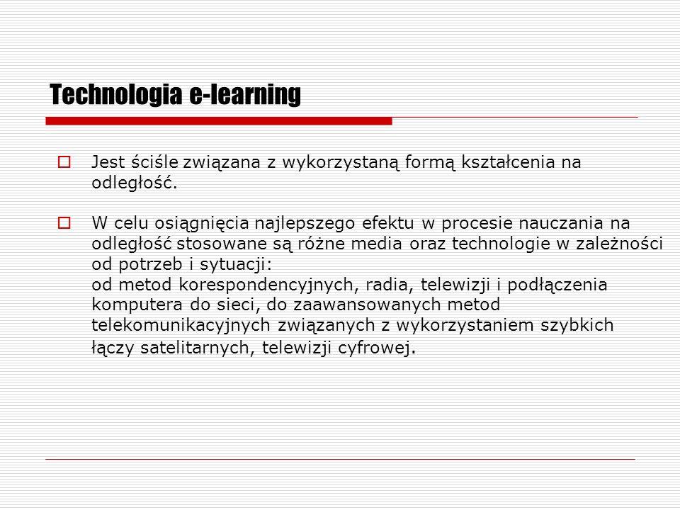 Technologia e-learning Jest ściśle związana z wykorzystaną formą kształcenia na odległość.