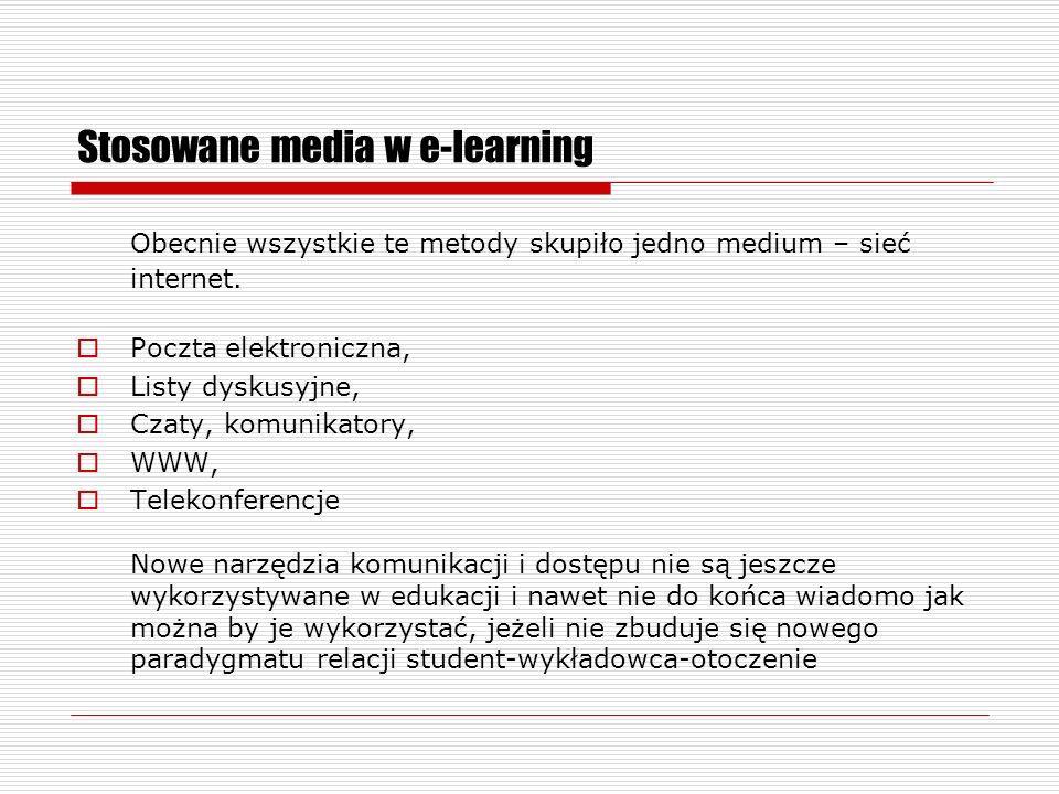 Stosowane media w e-learning Obecnie wszystkie te metody skupiło jedno medium – sieć internet.