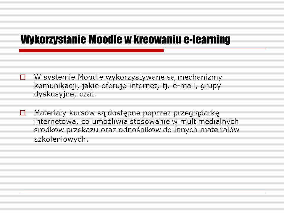Wykorzystanie Moodle w kreowaniu e-learning Formaty kursów – tygodniowy, tematyczny, towarzyski, Moduły kursu – głosowanie, zasoby, ankiety, czaty, dzienniki, forum dyskusyjne, lekcje, quizy, pakiety scorm, słowniki pojęć, warsztaty, wiki, zadania.