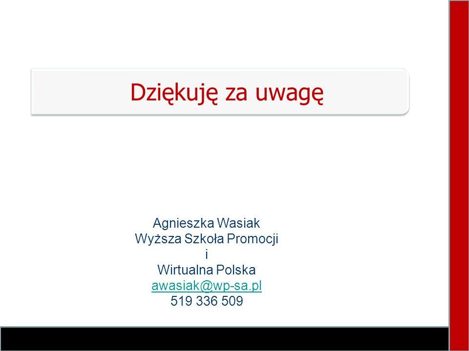Dziękuję za uwagę Agnieszka Wasiak Wyższa Szkoła Promocji i Wirtualna Polska awasiak@wp-sa.pl 519 336 509
