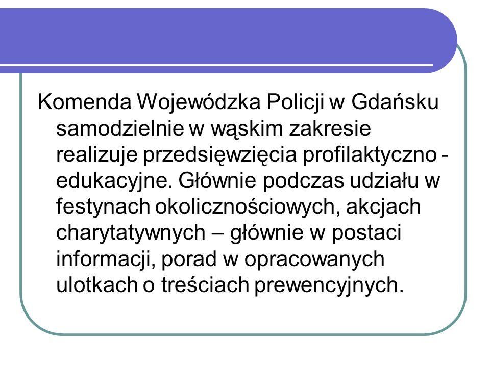 Komenda Wojewódzka Policji w Gdańsku samodzielnie w wąskim zakresie realizuje przedsięwzięcia profilaktyczno - edukacyjne. Głównie podczas udziału w f