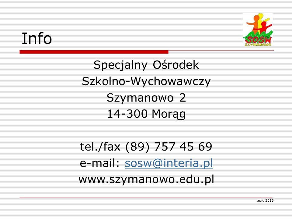 Info Specjalny Ośrodek Szkolno-Wychowawczy Szymanowo 2 14-300 Morąg tel./fax (89) 757 45 69 e-mail: sosw@interia.plsosw@interia.pl www.szymanowo.edu.p