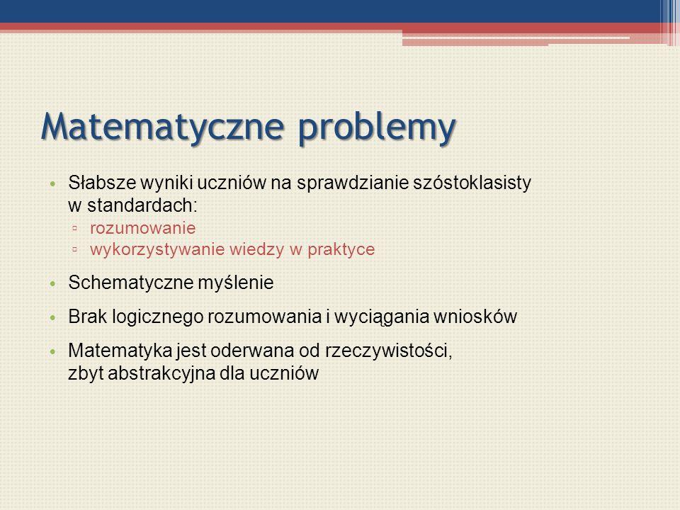 Matematyczne problemy Słabsze wyniki uczniów na sprawdzianie szóstoklasisty w standardach: rozumowanie wykorzystywanie wiedzy w praktyce Schematyczne