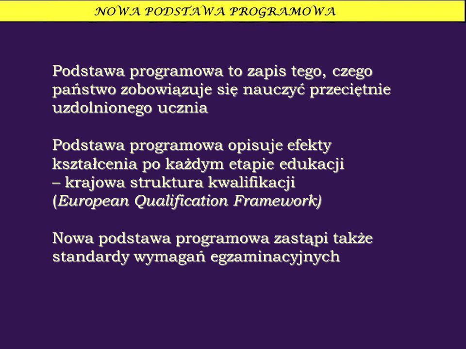 Podstawa programowa to zapis tego, czego państwo zobowiązuje się nauczyć przeciętnie uzdolnionego ucznia Podstawa programowa opisuje efekty kształcenia po każdym etapie edukacji – krajowa struktura kwalifikacji ( European Qualification Framework) Nowa podstawa programowa zastąpi także standardy wymagań egzaminacyjnych