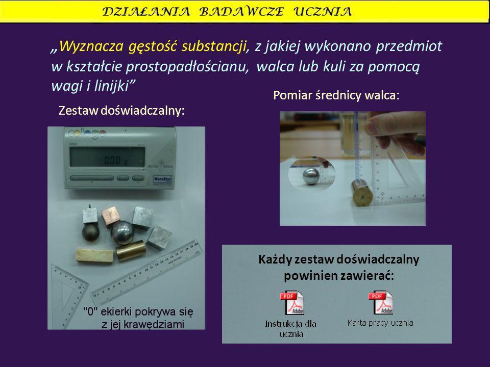 Wyznacza gęstość substancji, z jakiej wykonano przedmiot w kształcie prostopadłościanu, walca lub kuli za pomocą wagi i linijki Zestaw doświadczalny: