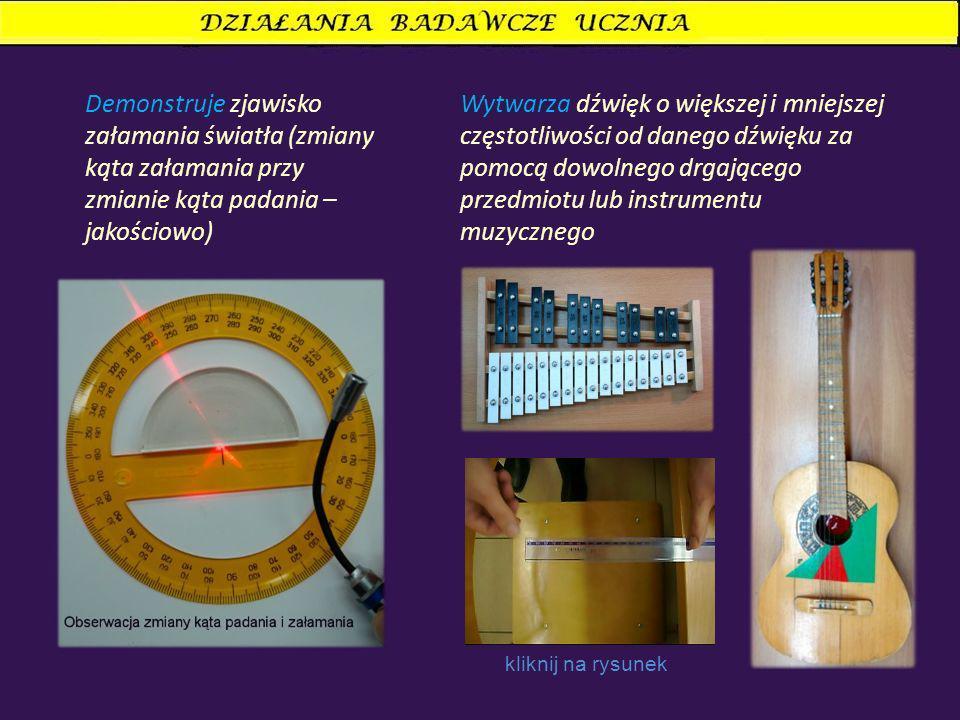 Demonstruje zjawisko załamania światła (zmiany kąta załamania przy zmianie kąta padania – jakościowo) Wytwarza dźwięk o większej i mniejszej częstotliwości od danego dźwięku za pomocą dowolnego drgającego przedmiotu lub instrumentu muzycznego kliknij na rysunek
