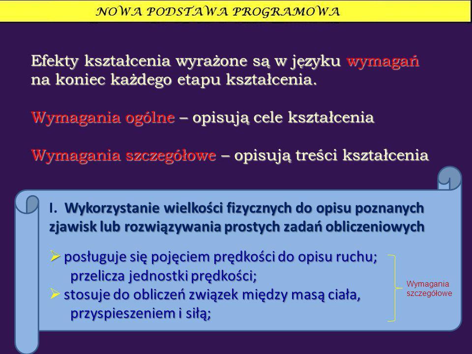 Efekty kształcenia wyrażone są w języku wymagań na koniec każdego etapu kształcenia. Wymagania ogólne – opisują cele kształcenia Wymagania szczegółowe