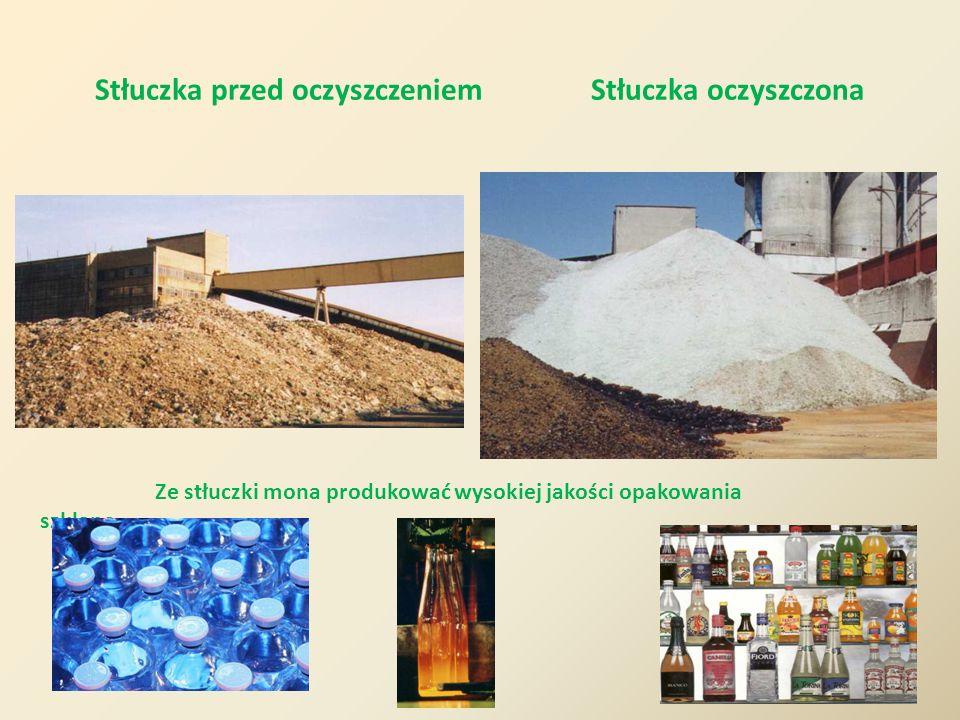 Stłuczka przed oczyszczeniem Stłuczka oczyszczona Ze stłuczki mona produkować wysokiej jakości opakowania szklane