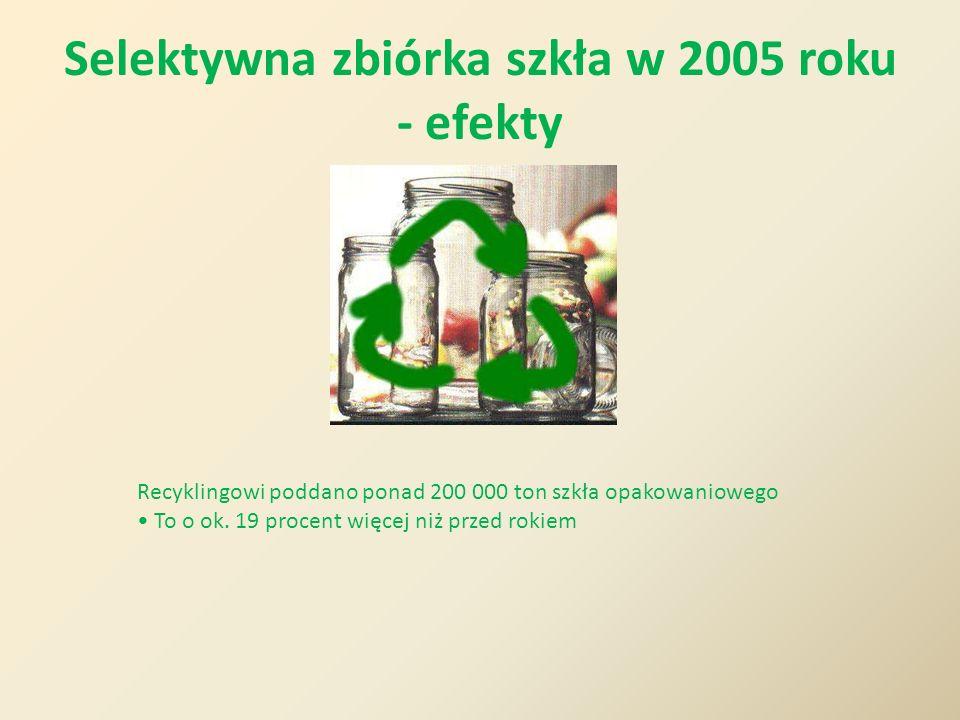Selektywna zbiórka szkła w 2005 roku - efekty Recyklingowi poddano ponad 200 000 ton szkła opakowaniowego To o ok. 19 procent więcej niż przed rokiem