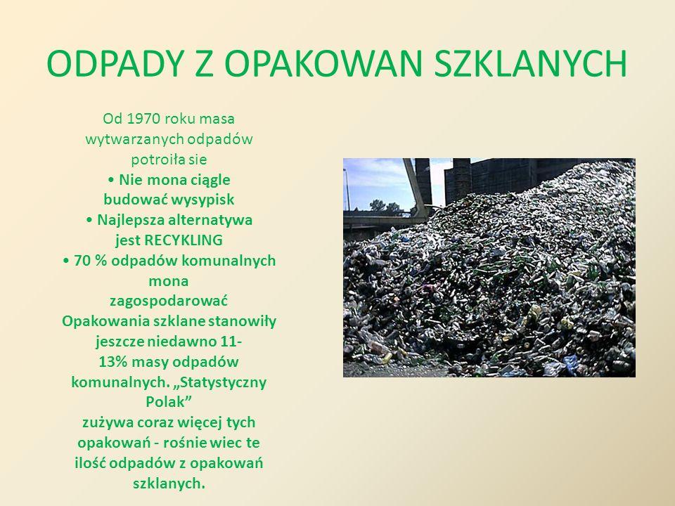 ODPADY Z OPAKOWAN SZKLANYCH Od 1970 roku masa wytwarzanych odpadów potroiła sie Nie mona ciągle budować wysypisk Najlepsza alternatywa jest RECYKLING