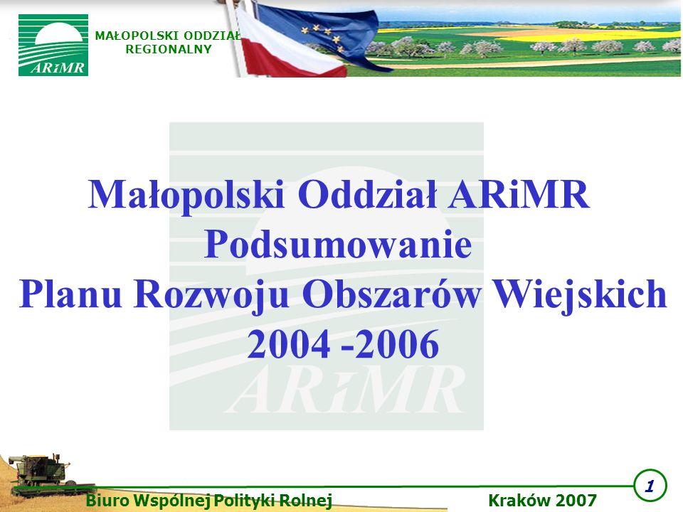 1 Biuro Wspólnej Polityki Rolnej Kraków 2007 MAŁOPOLSKI ODDZIAŁ REGIONALNY Małopolski Oddział ARiMR Podsumowanie Planu Rozwoju Obszarów Wiejskich 2004