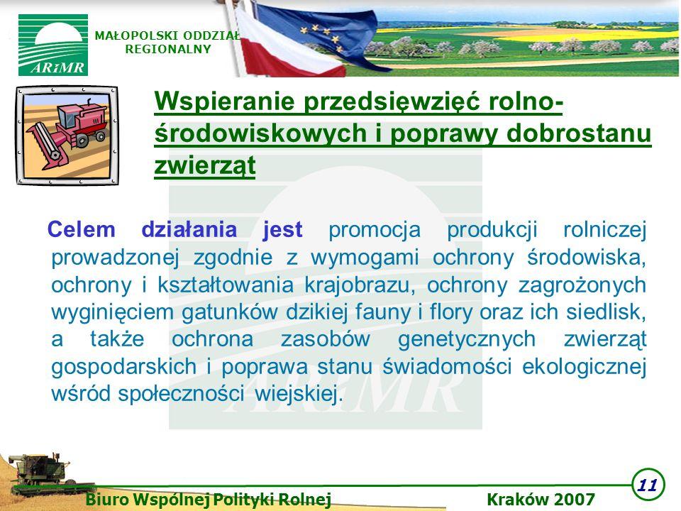 11 Biuro Wspólnej Polityki Rolnej Kraków 2007 MAŁOPOLSKI ODDZIAŁ REGIONALNY Wspieranie przedsięwzięć rolno- środowiskowych i poprawy dobrostanu zwierz