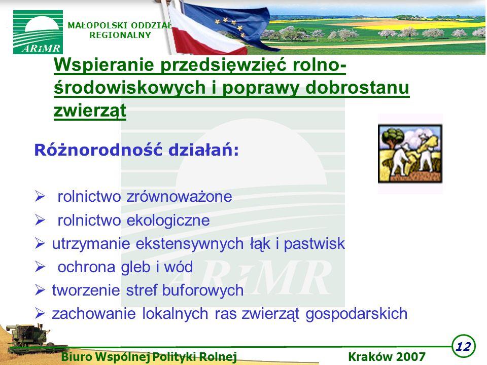 12 Biuro Wspólnej Polityki Rolnej Kraków 2007 MAŁOPOLSKI ODDZIAŁ REGIONALNY Wspieranie przedsięwzięć rolno- środowiskowych i poprawy dobrostanu zwierz