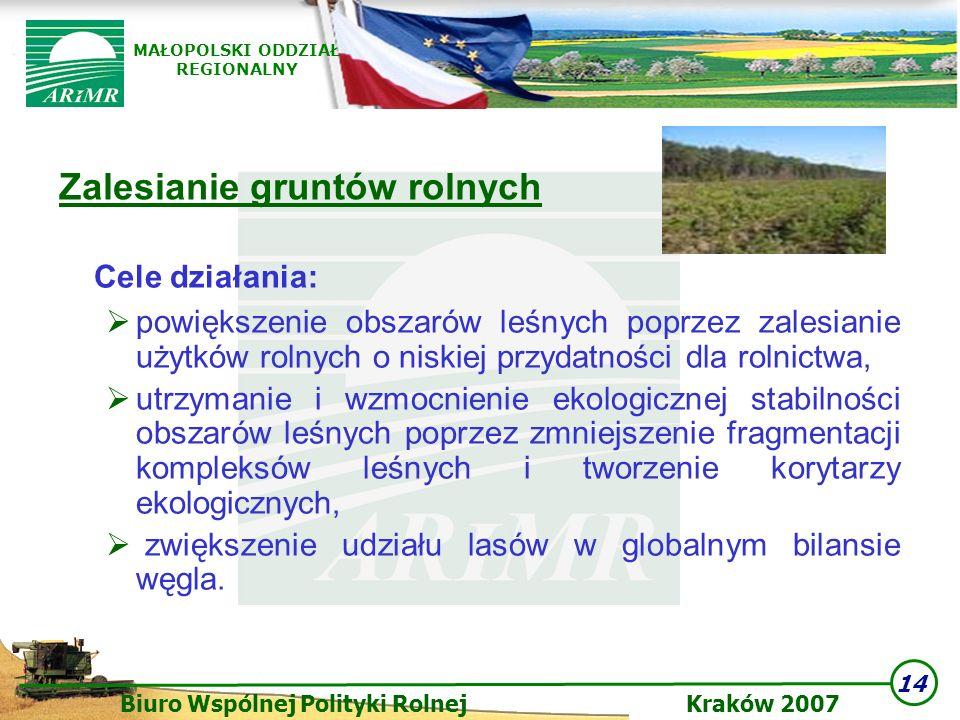 14 Biuro Wspólnej Polityki Rolnej Kraków 2007 MAŁOPOLSKI ODDZIAŁ REGIONALNY Zalesianie gruntów rolnych Cele działania: powiększenie obszarów leśnych p