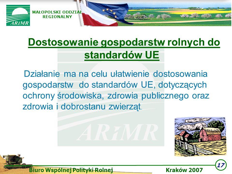 17 Biuro Wspólnej Polityki Rolnej Kraków 2007 MAŁOPOLSKI ODDZIAŁ REGIONALNY Dostosowanie gospodarstw rolnych do standardów UE Działanie ma na celu uła