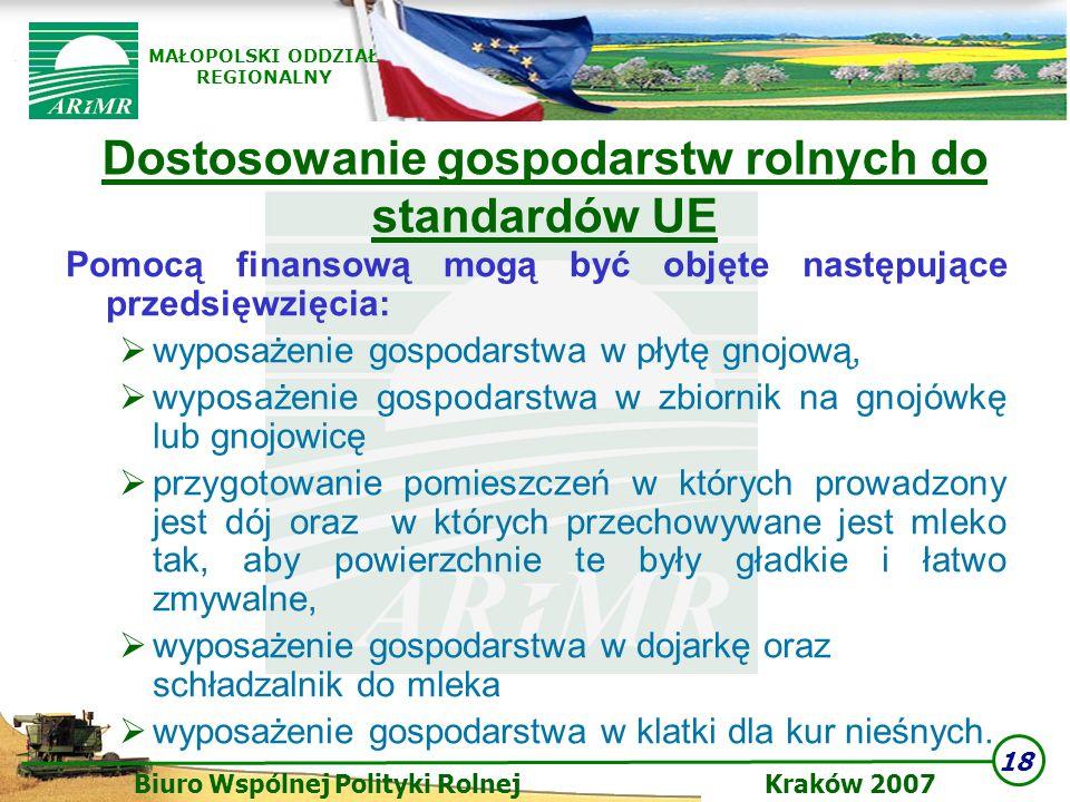 18 Biuro Wspólnej Polityki Rolnej Kraków 2007 MAŁOPOLSKI ODDZIAŁ REGIONALNY Dostosowanie gospodarstw rolnych do standardów UE Pomocą finansową mogą by