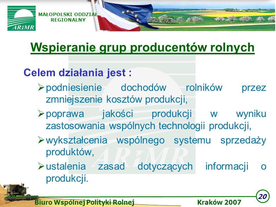 20 Biuro Wspólnej Polityki Rolnej Kraków 2007 MAŁOPOLSKI ODDZIAŁ REGIONALNY Wspieranie grup producentów rolnych Celem działania jest : podniesienie do