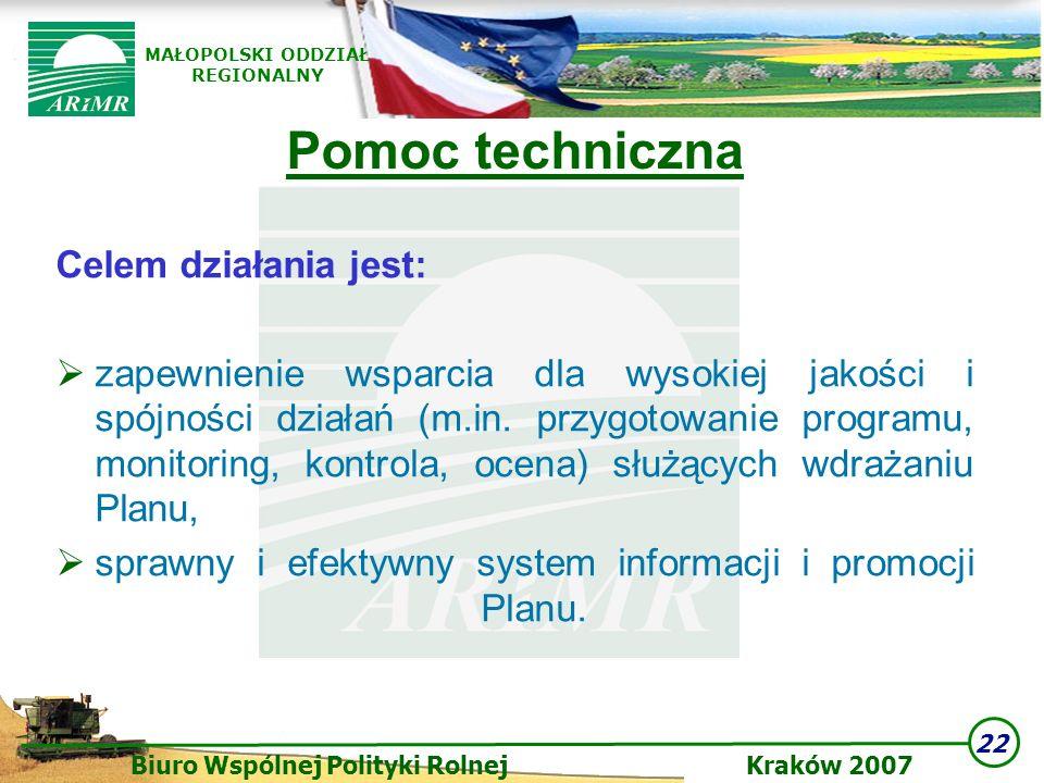 22 Biuro Wspólnej Polityki Rolnej Kraków 2007 MAŁOPOLSKI ODDZIAŁ REGIONALNY Pomoc techniczna Celem działania jest: zapewnienie wsparcia dla wysokiej j