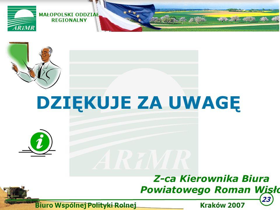 23 Biuro Wspólnej Polityki Rolnej Kraków 2007 MAŁOPOLSKI ODDZIAŁ REGIONALNY DZIĘKUJE ZA UWAGĘ Z-ca Kierownika Biura Powiatowego Roman Wisło