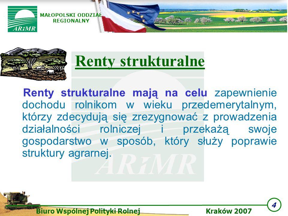 4 Biuro Wspólnej Polityki Rolnej Kraków 2007 MAŁOPOLSKI ODDZIAŁ REGIONALNY Renty strukturalne mają na celu zapewnienie dochodu rolnikom w wieku przede