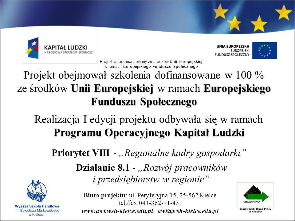 Biuro projektu: ul. Peryferyjna 15, 25-562 Kielce tel./fax 041-362-71-45; www.awi.wsh-kielce.edu.pl; awi@wsh-kielce.edu.pl Projekt współfinansowany ze