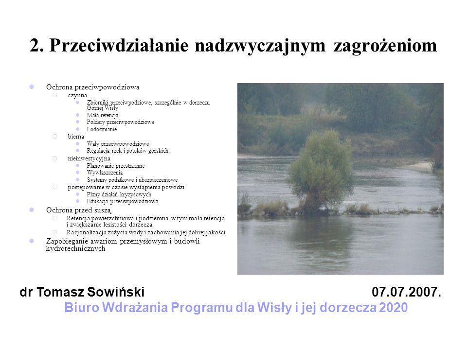 2. Przeciwdziałanie nadzwyczajnym zagrożeniom Ochrona przeciwpowodziowa czynna Zbiorniki przeciwpodziowe, szczególnie w dorzeczu Górnej Wisły Mała ret