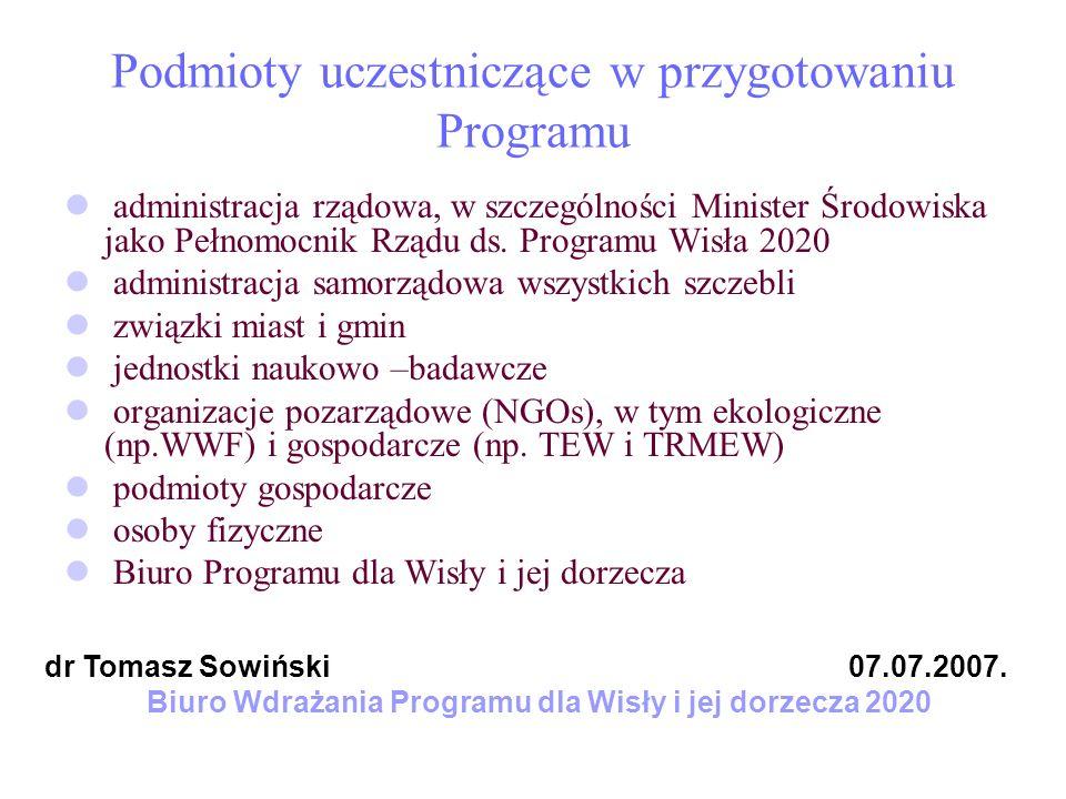 Podmioty uczestniczące w przygotowaniu Programu administracja rządowa, w szczególności Minister Środowiska jako Pełnomocnik Rządu ds. Programu Wisła 2