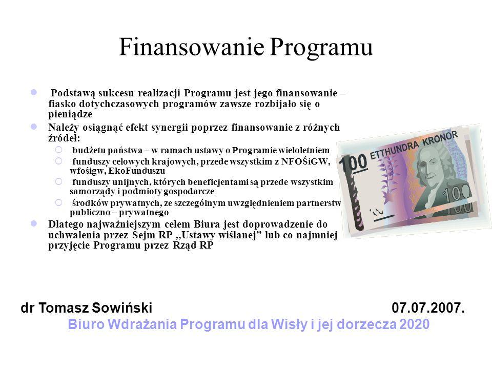 Finansowanie Programu Podstawą sukcesu realizacji Programu jest jego finansowanie – fiasko dotychczasowych programów zawsze rozbijało się o pieniądze