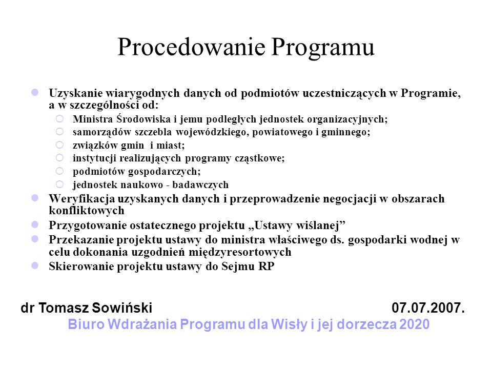 Procedowanie Programu Uzyskanie wiarygodnych danych od podmiotów uczestniczących w Programie, a w szczególności od: Ministra Środowiska i jemu podległ