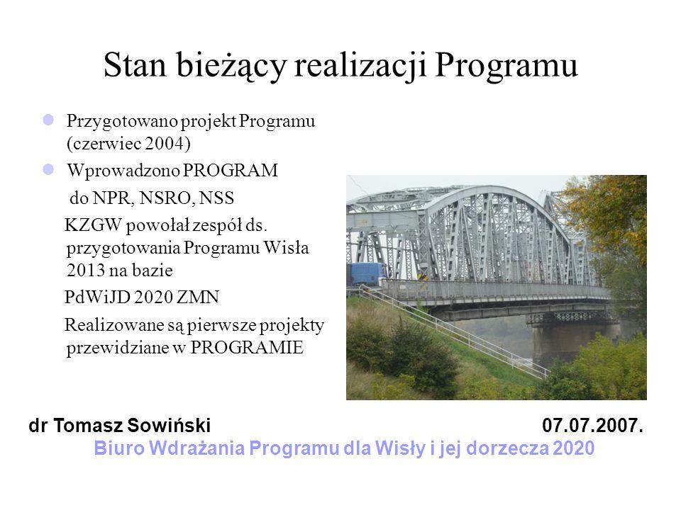 Stan bieżący realizacji Programu Przygotowano projekt Programu (czerwiec 2004) Wprowadzono PROGRAM do NPR, NSRO, NSS KZGW powołał zespół ds. przygotow