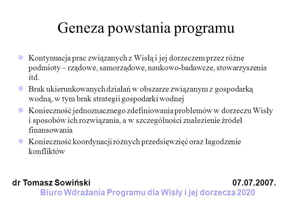 Geneza powstania programu Kontynuacja prac związanych z Wisłą i jej dorzeczem przez różne podmioty – rządowe, samorządowe, naukowo-badawcze, stowarzys