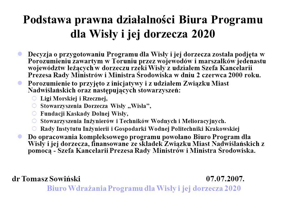 Podstawa prawna działalności Biura Programu dla Wisły i jej dorzecza 2020 Decyzja o przygotowaniu Programu dla Wisły i jej dorzecza została podjęta w