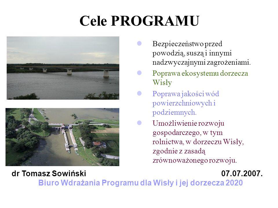 Cechy Programu dla Wisły i jej dorzecza Otwartość na różne inicjatywy i podprogramy w czasie na zmieniające się uwarunkowania społeczne, ekonomiczne i prawne Spójność planowanie w obszarze dorzecza korelacja pomiędzy różnymi inicjatywami Zgodność z obowiązującym prawem (przede wszystkim z Prawem wodnym, ustawami środowiskowymi, dyrektywami unijnymi - Ramową Dyrektywą Wodną itd.) z istniejącymi i powstającymi strategiami na różnych szczeblach, planami zagospodarowania przestrzennego itd.
