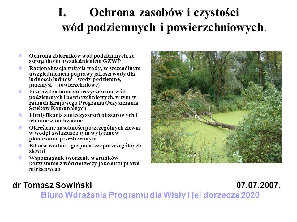 I.Ochrona zasobów i czystości wód podziemnych i powierzchniowych. Ochrona zbiorników wód podziemnych, ze szczególnym uwzględnieniem GZWP Racjonalizacj