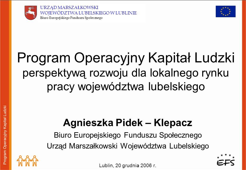 Dziękuję za uwagę Agnieszka Pidek – Klepacz Biuro Europejskiego Funduszu Społecznego Urząd Marszałkowski Województwa Lubelskiego E-mail: befs@lubelskie.pl Tel.