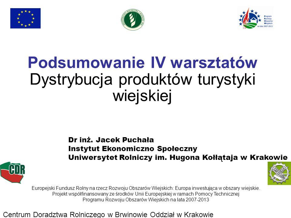 Podsumowanie IV warsztatów Dystrybucja produktów turystyki wiejskiej Europejski Fundusz Rolny na rzecz Rozwoju Obszarów Wiejskich: Europa inwestująca