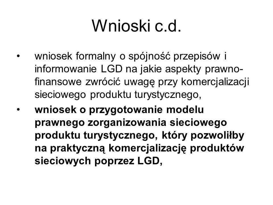 Wnioski c.d. wniosek formalny o spójność przepisów i informowanie LGD na jakie aspekty prawno- finansowe zwrócić uwagę przy komercjalizacji sieciowego