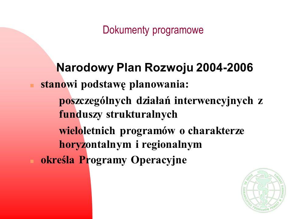 Dokumenty programowe Narodowy Plan Rozwoju 2004-2006 n stanowi podstawę planowania: poszczególnych działań interwencyjnych z funduszy strukturalnych w
