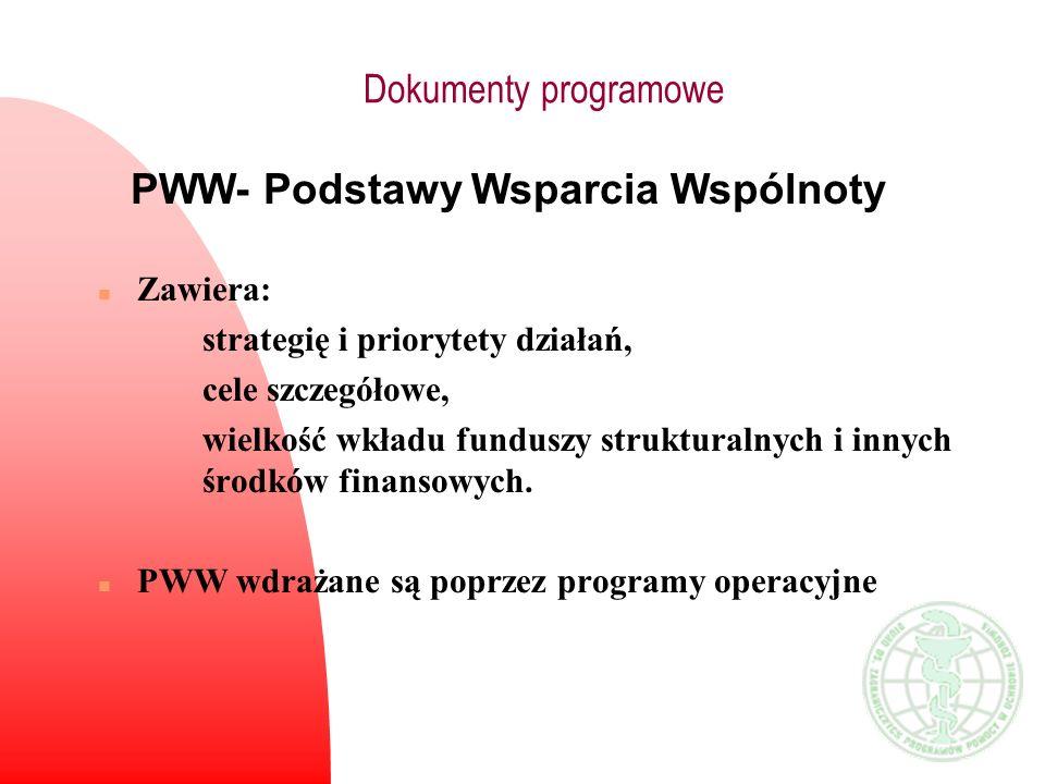 Dokumenty programowe PWW- Podstawy Wsparcia Wspólnoty n Zawiera: strategię i priorytety działań, cele szczegółowe, wielkość wkładu funduszy struktural