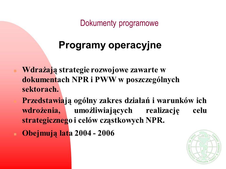 Programy operacyjne n Wdrażają strategie rozwojowe zawarte w dokumentach NPR i PWW w poszczególnych sektorach. n Przedstawiają ogólny zakres działań i