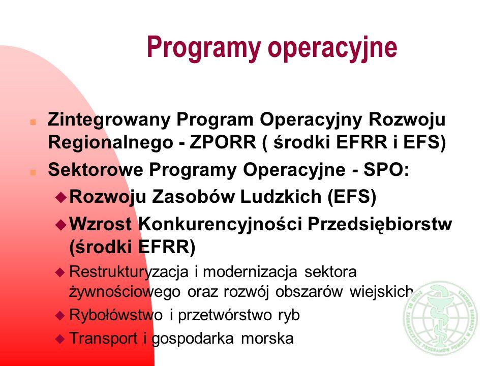 n Zintegrowany Program Operacyjny Rozwoju Regionalnego - ZPORR ( środki EFRR i EFS) n Sektorowe Programy Operacyjne - SPO: u Rozwoju Zasobów Ludzkich
