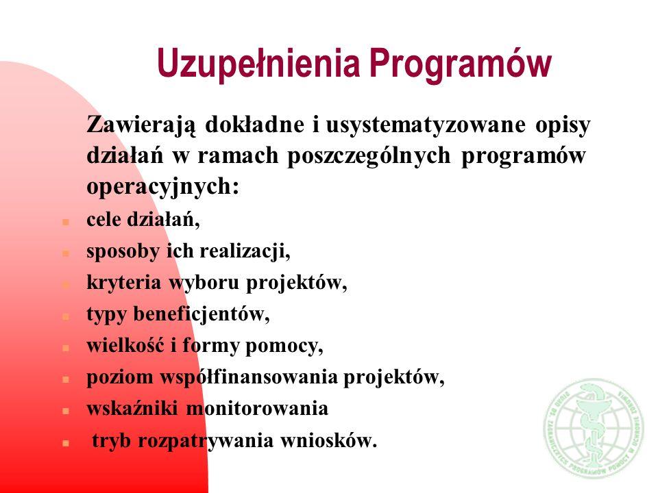Uzupełnienia Programów Zawierają dokładne i usystematyzowane opisy działań w ramach poszczególnych programów operacyjnych: n cele działań, n sposoby i
