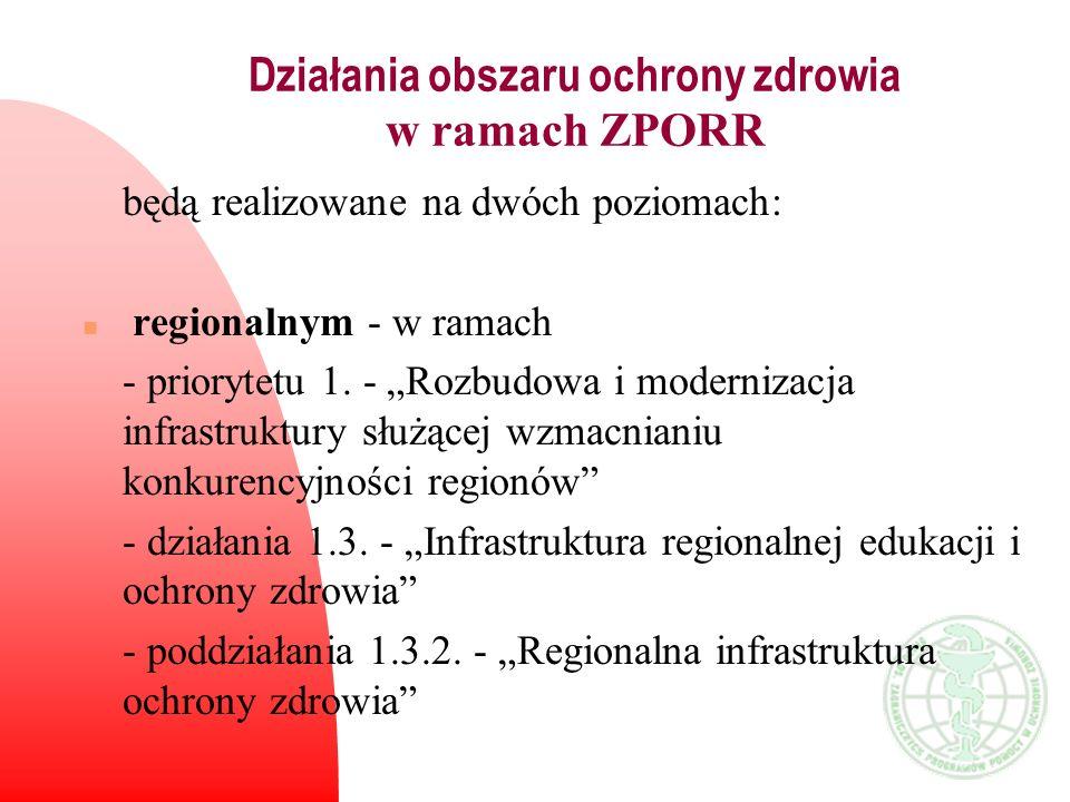 Działania obszaru ochrony zdrowia w ramach ZPORR będą realizowane na dwóch poziomach: n regionalnym - w ramach - priorytetu 1. - Rozbudowa i moderniza